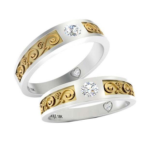 ổ nhẫn kim cương nữ đẹp từ chất liệu vàng trắng