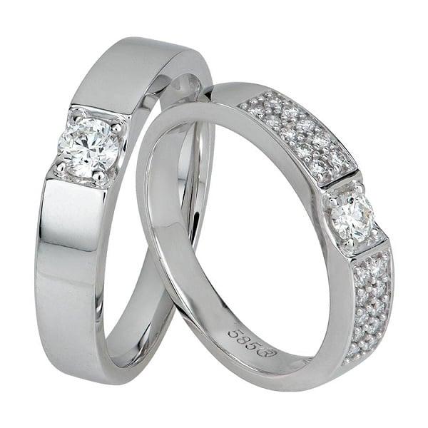 Chất liệu nhẫn cưới từ vàng trắng