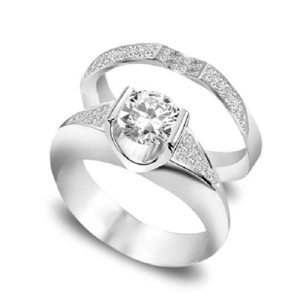Nhẫn cặp kim cương thiết kế tỉ mỉ