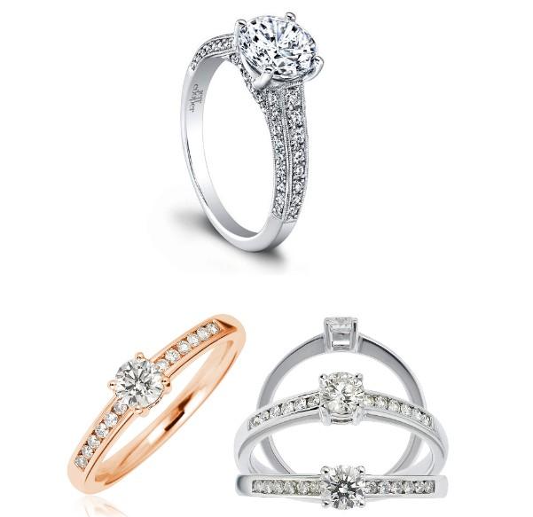 Nhẫn đính hôn kiểu nhiều đá