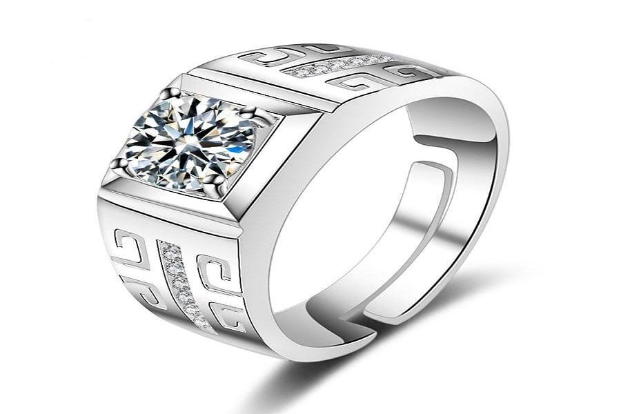 nhẫn nam vàng trắng 14k