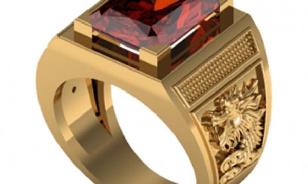 Kiểu nhẫn nam vàng 18k đá Garnet