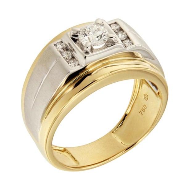 Mẫu nhẫn nam kim cương vàng pha trắng 18k