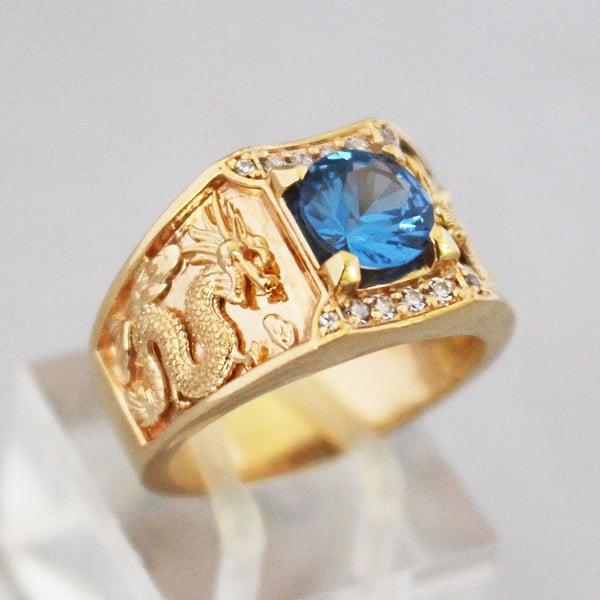 Mẫu nhẫn vàng ta nam đẹp chạm khắc hình Long – Phụng