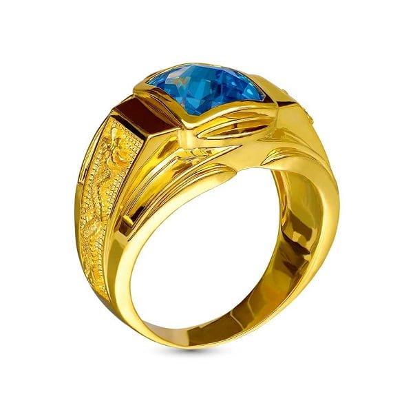 Kiểu nhẫn nam vàng 18k đính đá Blue topal