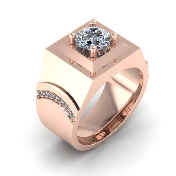 Nhẫn nam vàng hồng thiết kế tỉ mỉ