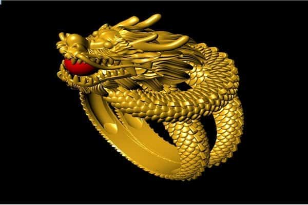 Nhẫn vàng nam cao cấp – Rồng ngậm châu