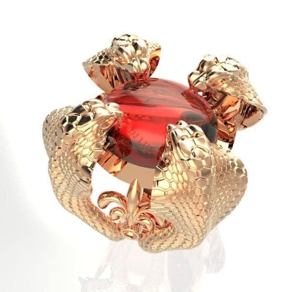 Nhẫn vàng hồng nam đá quý tuổi Tỵ
