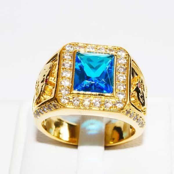 Nhẫn vàng nam đá quý Topaz 12