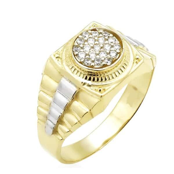 Ổ nhẫn vàng trắng với điểm nhấn tinh tế
