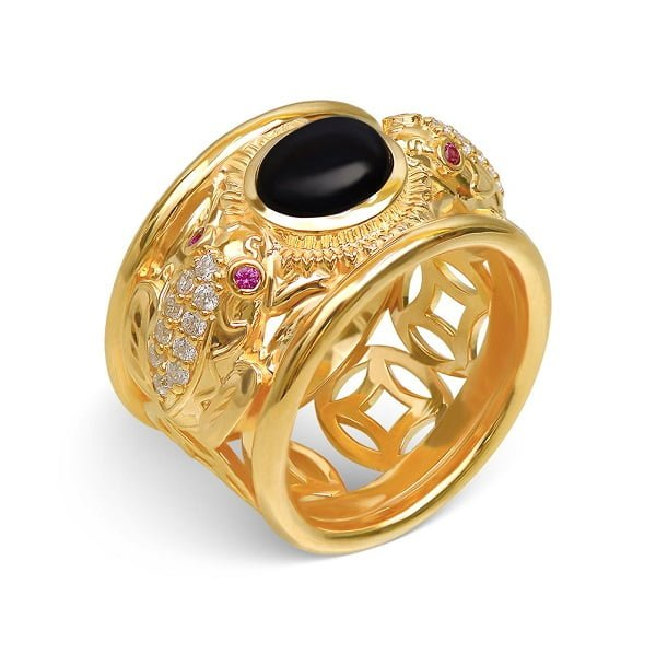 Nhẫn kiểu nam vàng 18k chạm khắc họa tiết