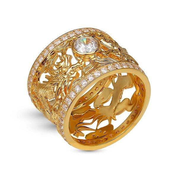 Kiểu nhẫn nam vàng 18k chạm khắc rồng
