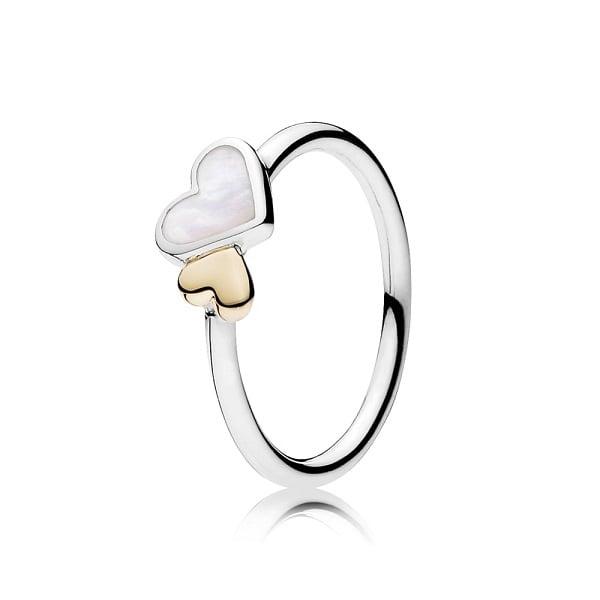 Mẫu nhẫn nữ vàng trắng đẹp hình trái tim