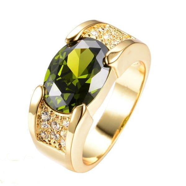 Mẫu nhẫn vàng tây cho nữ đính đá Peridot