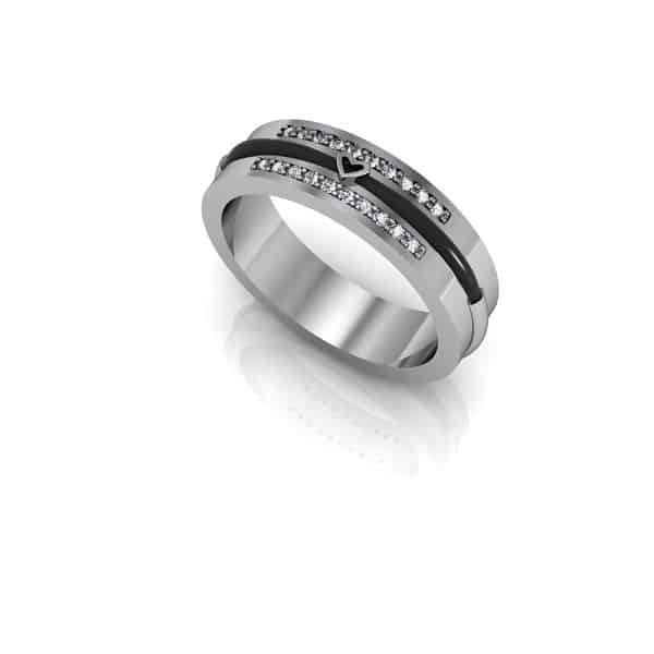 Mẫu nhẫn vàng trắng nam đẹp đính đá quý