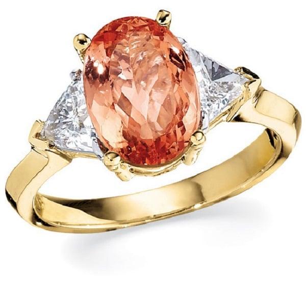 Nhẫn nữ vàng tây với mặt đá độc đáo
