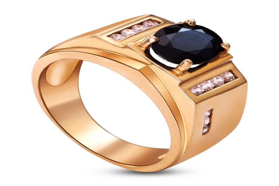 nhẫn vàng nam mặt đá