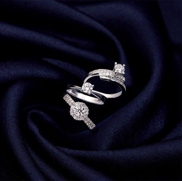 Nhẫn vàng trắng nữ đẹp đính đá