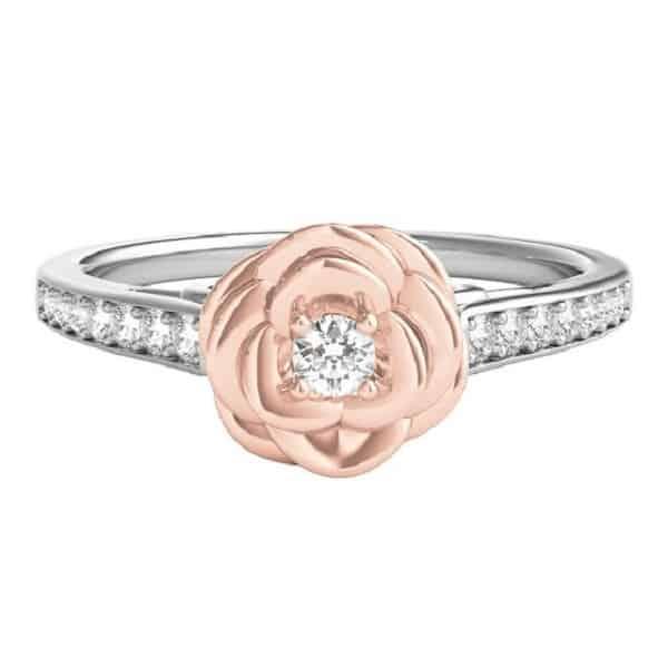 Nhẫn nữ vàng trắng cách điệu