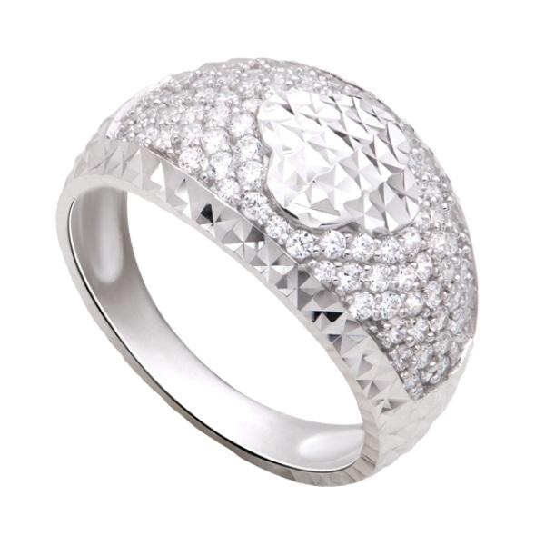 Nhẫn vàng trắng vòng cung