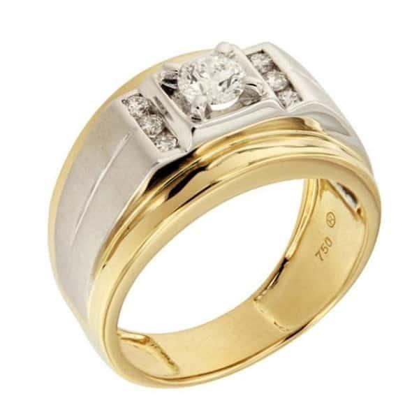 Nhẫn nam mạ vàng pha trắng 1809012