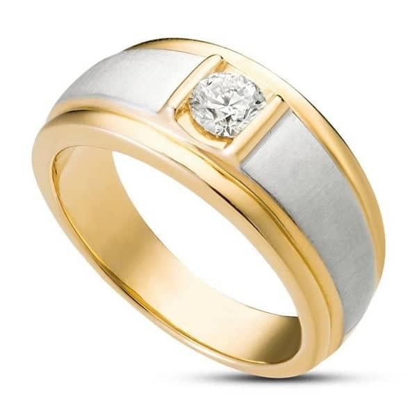 Nhẫn nam kim cương mạ vàng pha trắng spd1809015