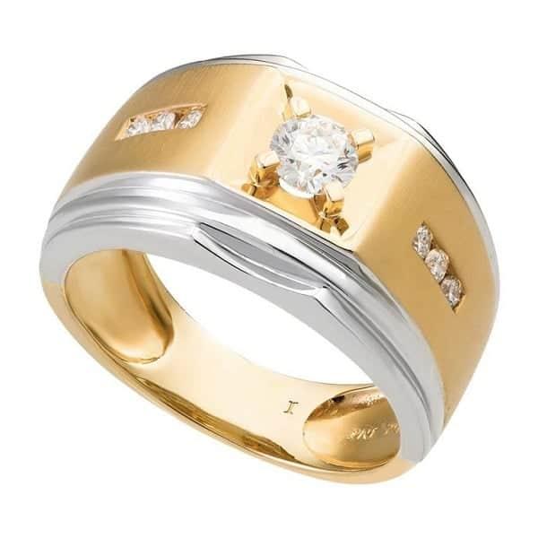 Mẫu nhẫn nam mạ vàng pha trắngđính kim cương 1809014