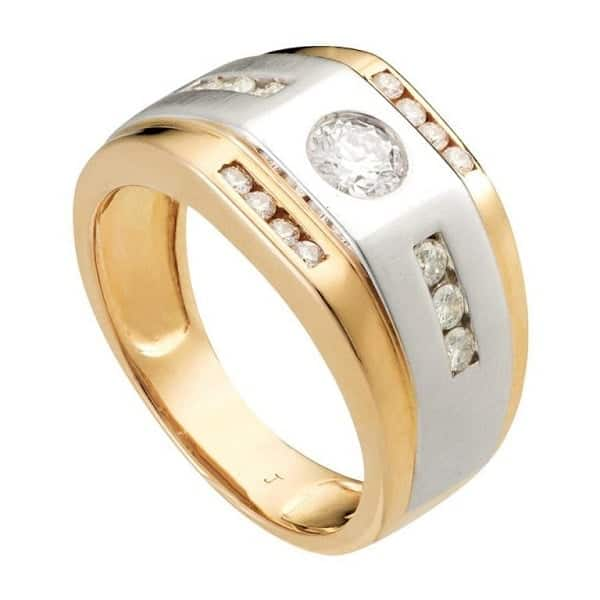 Mẫu nhẫn nam mạ vàng pha trắng 1809013