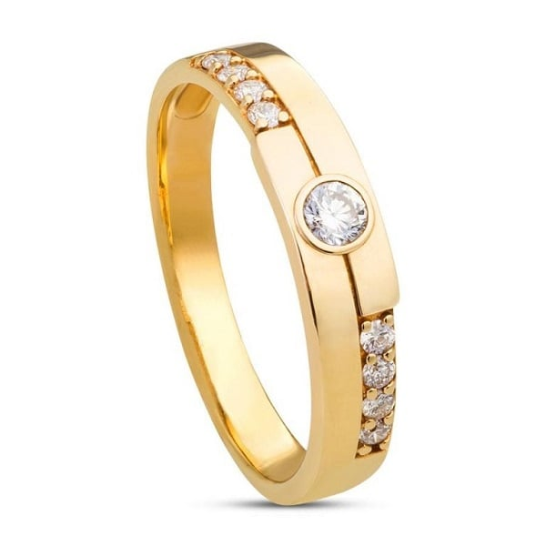 Mẫu nhẫn nữ vàng tây đính đá tròn