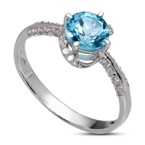 Nhẫn nữ đính đá xanh sang trọng