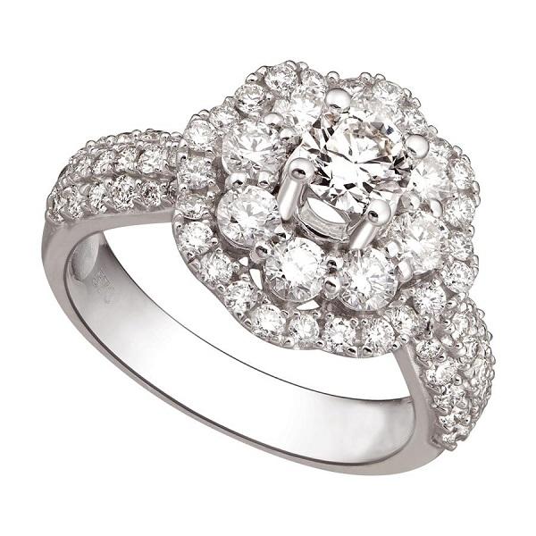 Kiểu nhẫn vàng trắng nữ đẹp hình bông hoa