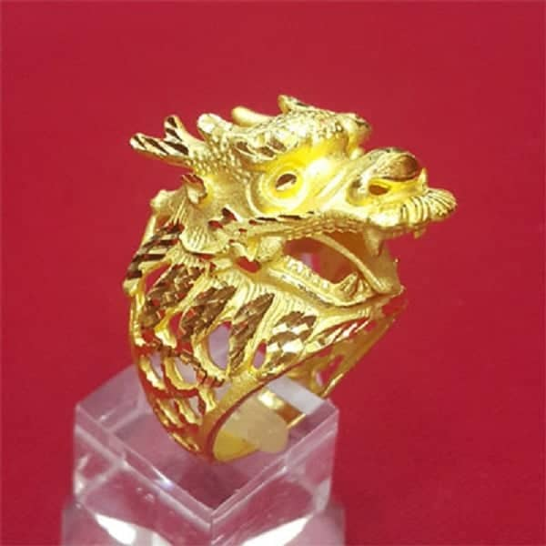 Nhẫn nam vàng 9999 hình đầu rồng