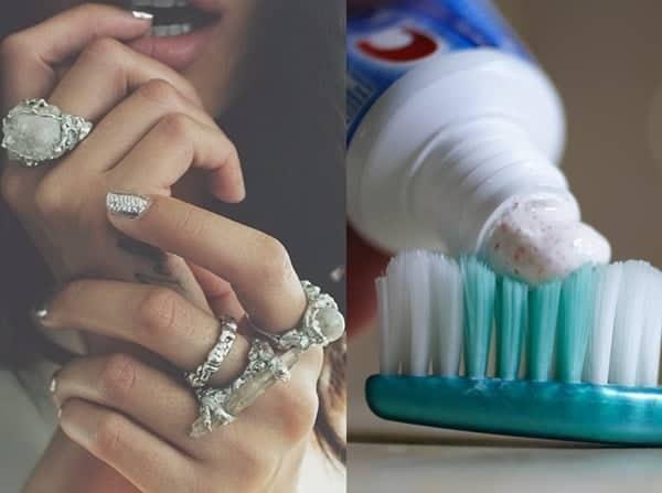 Sử dụng kem đánh răng làm sạch nhẫn
