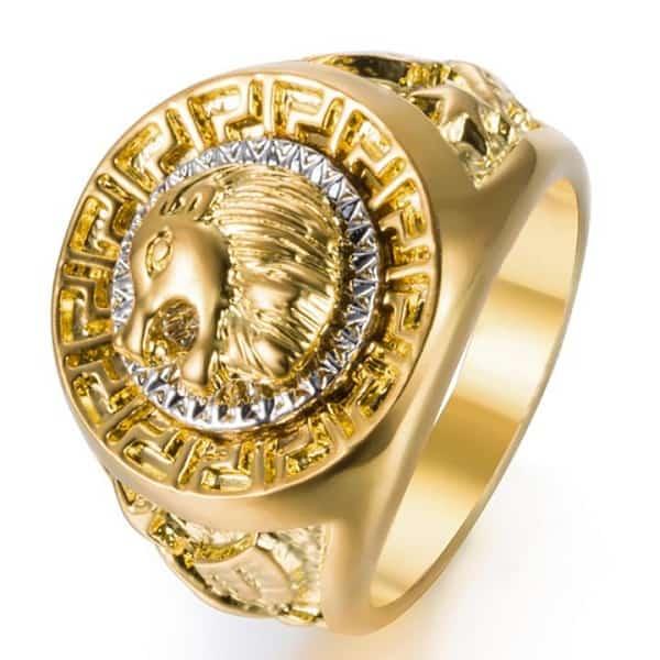 Nhẫn nam vàng 18k đính đá trên đầu sư tử