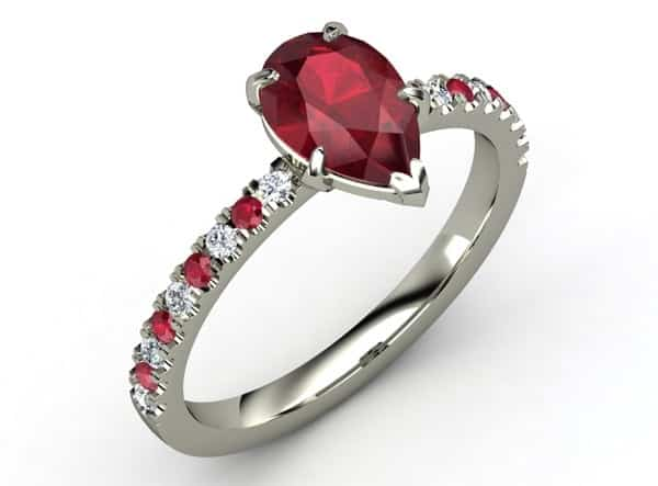 Mẫu nhẫn nữ vàng trắng đẹp đính đá hồng