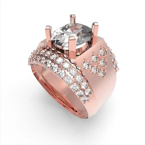 Nhẫn vàng hồng cho nam chất liệu tinh tế