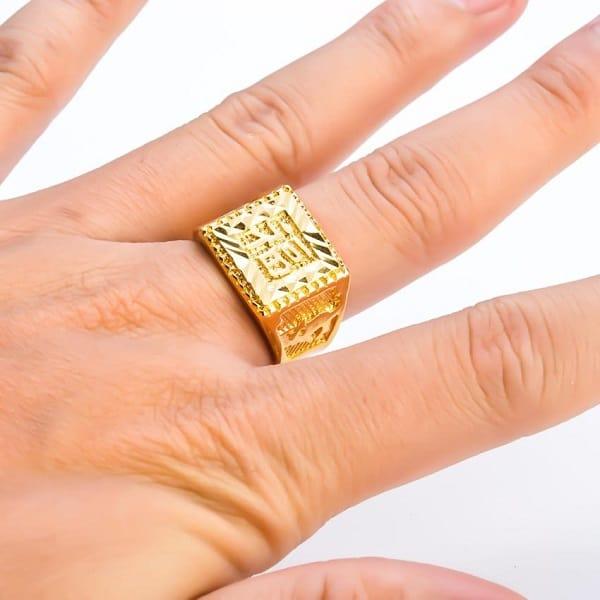 Nhẫn vàng 18k nam chữ Hán