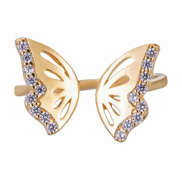 Mẫu nhẫn vàng 18k kiểu nữ hình cánh bướm