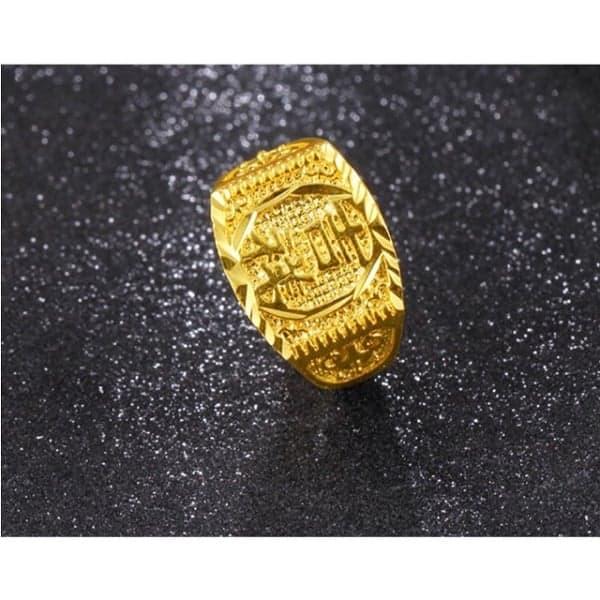 Nhẫn vàng 24 nam khắc ký tự chữ Hán