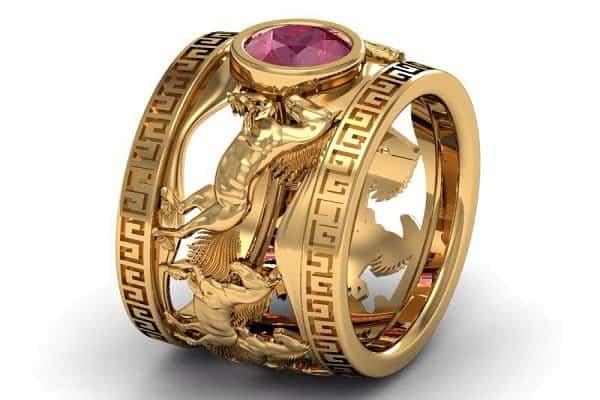 Mẫu nhẫn vàng 24 nam chạm khắc hình con vật