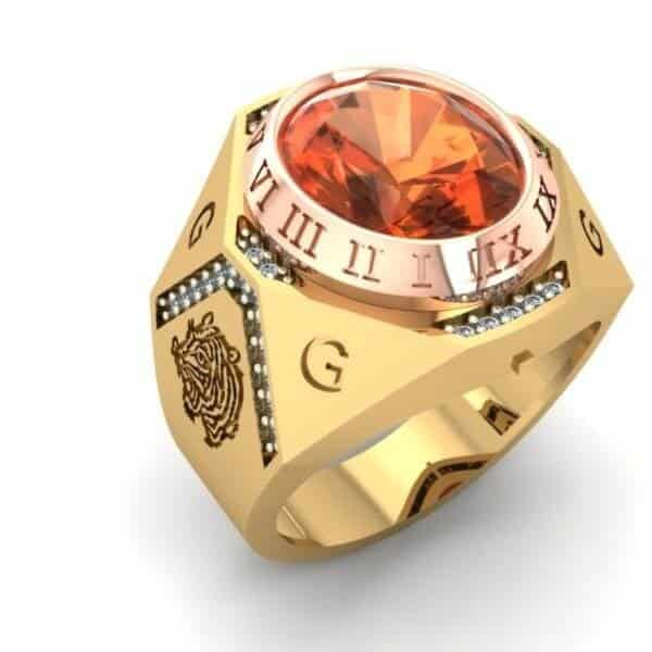 Mẫu nhẫn vàng 24 nam đính đá quý