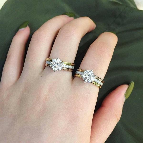 Kiểu nhẫn vàng trắng pha vàng tây đính đá