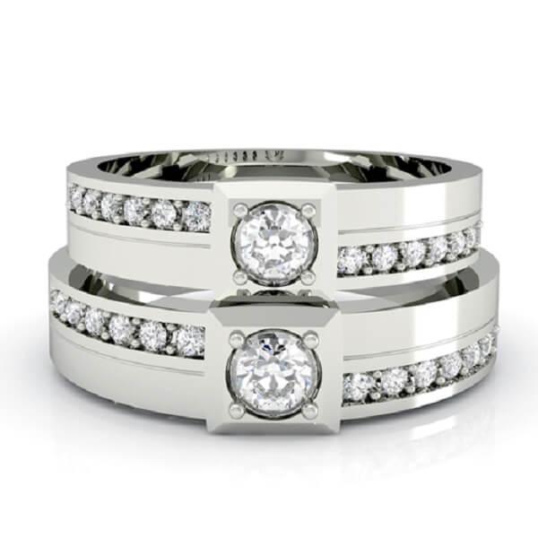 Hình ảnh nhẫn cưới vàng trắng viền kim cương