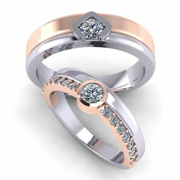 Mẫu nhẫn vàng cưới phối màu