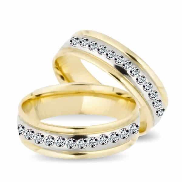 Hình ảnh nhẫn vàng đẹp ghép Platin cho đôi uyên ương thích sự sành điệu