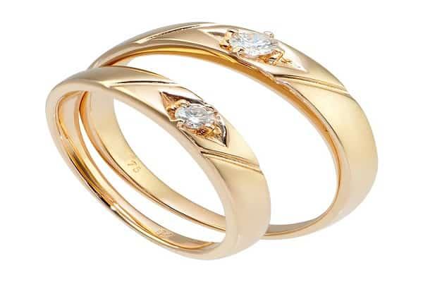 Nhẫn cặp vàng 14k đính kim cương
