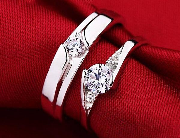 Hình ảnh nhẫn cưới vàng trắng cổ điển