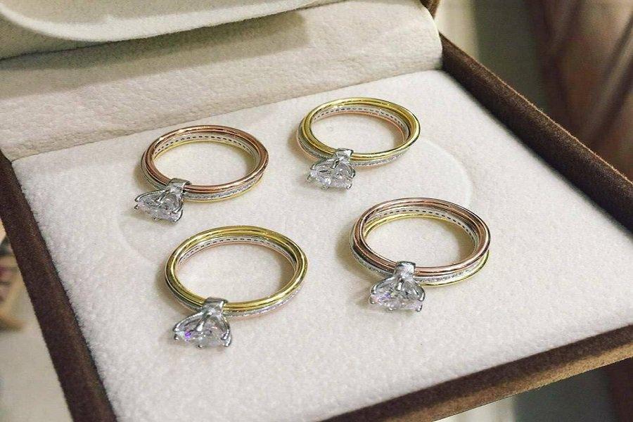 nhẫn vàng tây đính đá