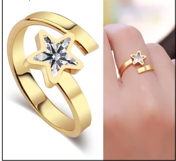 Nhẫn vàng hình ngôi sao tỏa sáng cho nữ