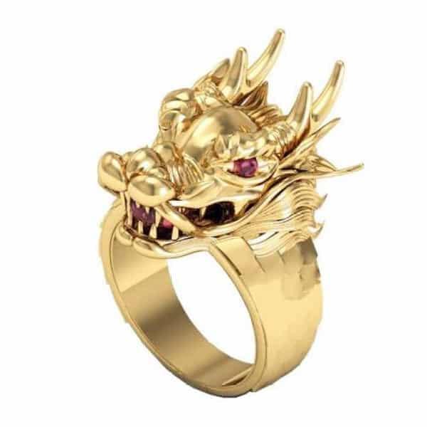 Nhẫn vàng tây nam hình rồng cá tính